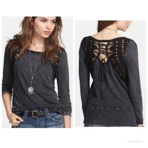 Free People Lace Up Swit Tee Long Sleeve NWT